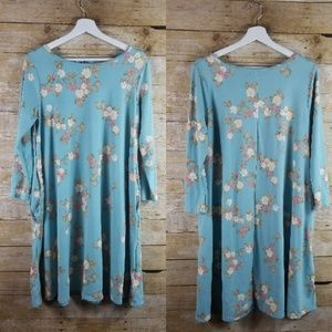 Honey And Lace Medium Teal Blue Tunic Dress Rose